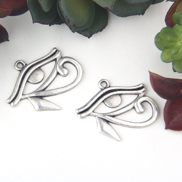 Silver Eye of Horus Pendants, Egyptian Eyes, Eye of Ra Charms,  2 pieces // SP-394
