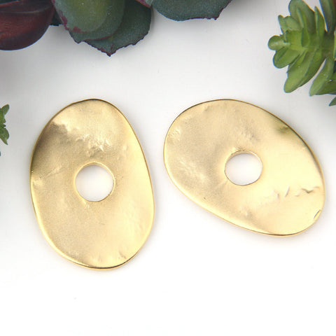2 Large Gold Oval Flat Disc Connector, Organic Disc Connector 23.50x34 mm // GC-557