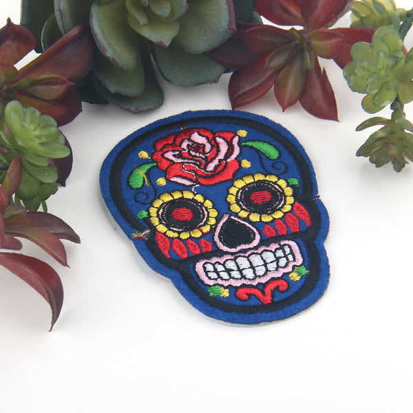 SALE, Royal Blue, Skull Applique, Skull Patch, Day of The Dead Patch, Halloween Iron-on Applique, Emroidered Iron-on Applique, 1 Piece