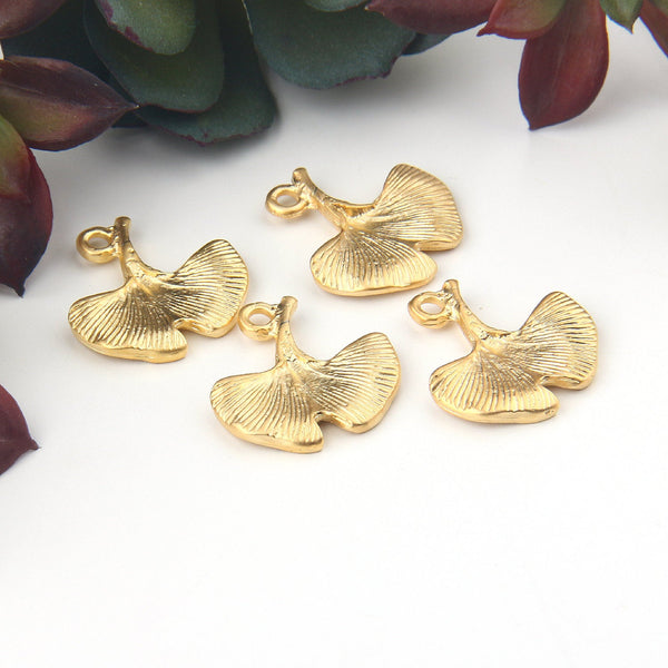 Gold Metal Gingko Leaf/Flower Charms, Nature Charms, Gingko Leaf Charms, 4 pieces // GCh-312