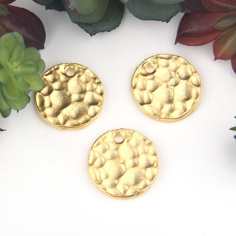 Gold, Round Flat Hammered Disc Charms, 21mm, 3 pieces // GCh-298