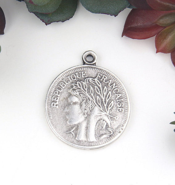 Silver, Replica Ancient French Coin Pendant, Old French Pendant, 1 piece // SP-387