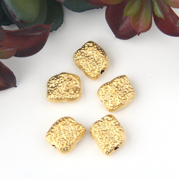 5 Gold Rectangular Sponge Beads, Gold Beads, Rectangle Beads, 10x11 mm // GB-280