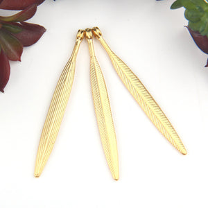 Gold, Textured Long Spike Pendants, Double Sided Pendants, 3 pieces // GP-615