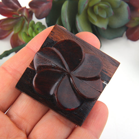 1 Handcrafted Flower Shaped Wooden Clasp, Multi strand Wooden Clasp, 42x42mm