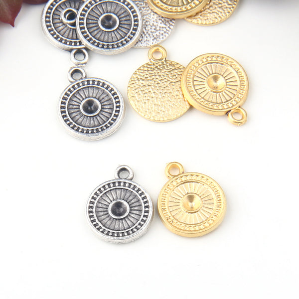 Silver, Round Textured Mini Drop Charms, Jewelry Findings, Metal Charms, 5 pieces // SCh-191