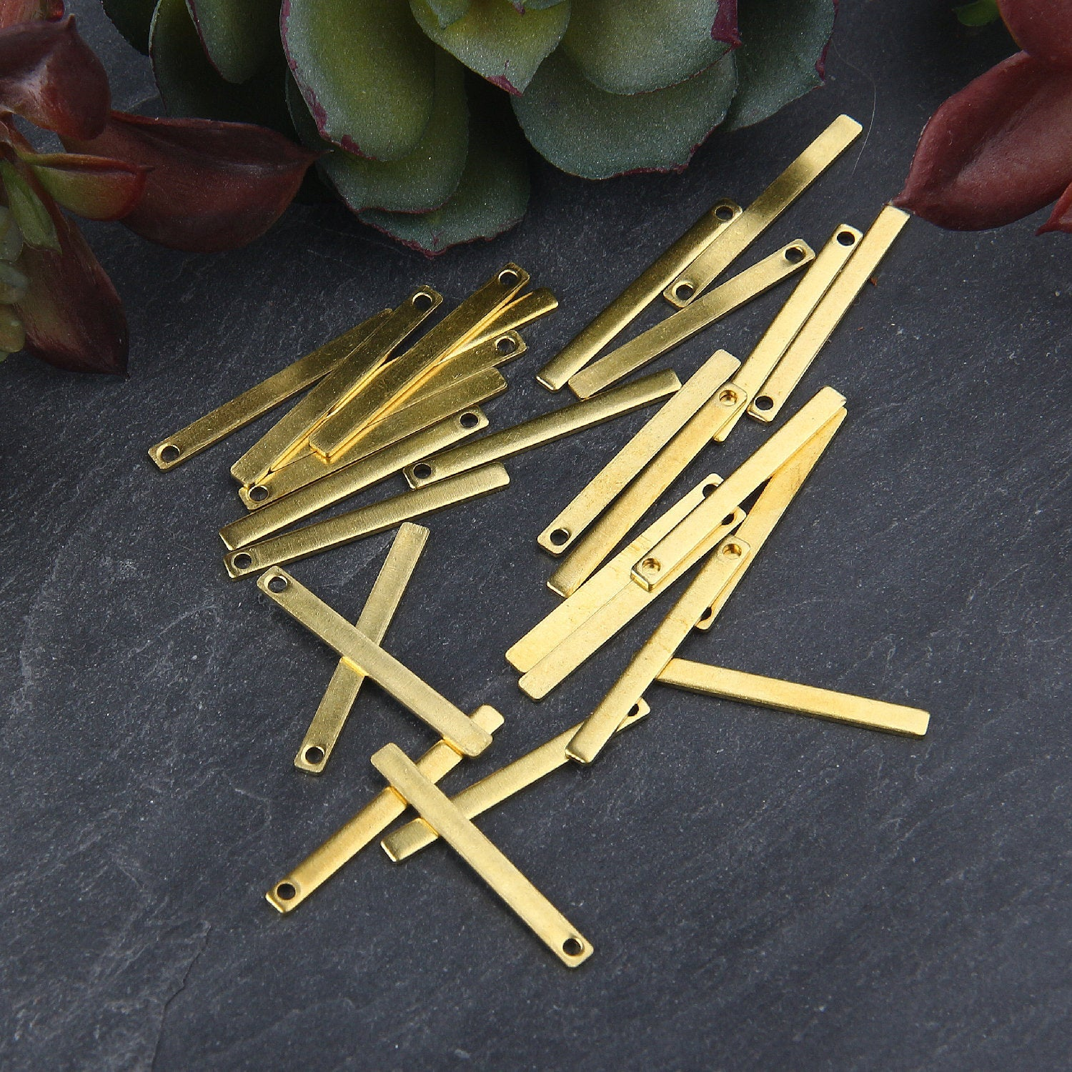 Mini Bar Raw Brass Charms, Mini Bar Pendants, Raw Brass Charm, 20 pieces // RAW-069