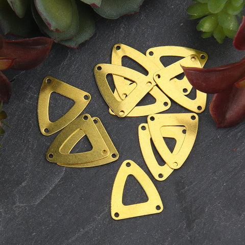 10 Raw Brass Triangle Multi Loop Connectors, 3-hole Triangle Link,16x18 mm // RAW-072