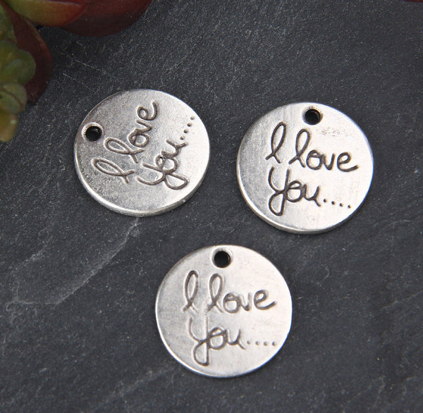 I Love You Charms, Silver Love Charms, Valentines Charms, 3 pieces // SCh-203