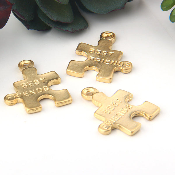 Gold Best Friend Puzzle Pendants, Puzzle Charms, Puzzle Pendants, 3 pieces // GP-619