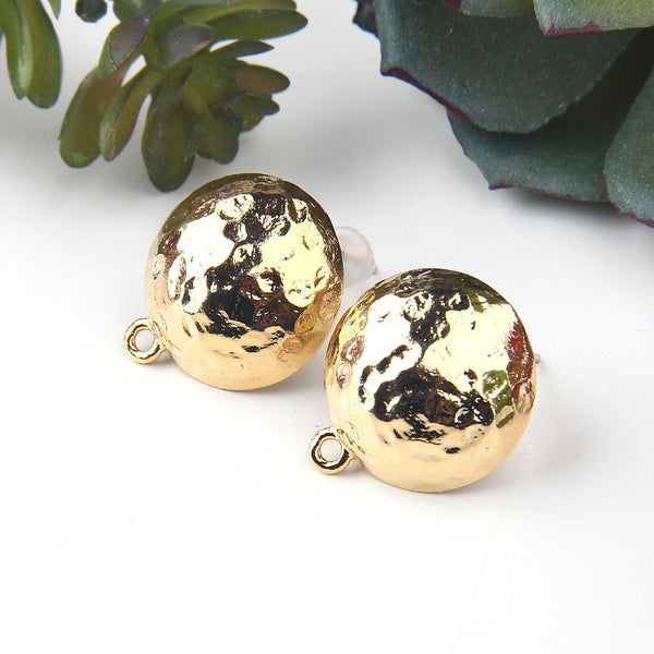 2 Shiny Gold Hammered Dome Earring Posts, Earring Components, 16x18mm // GF-188