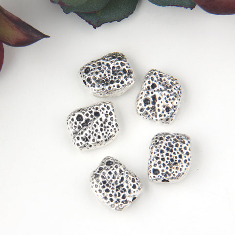 5 Silver Rectangular Sponge Beads, Silver Beads, Rectangle Beads, 10x11 mm // SB-139