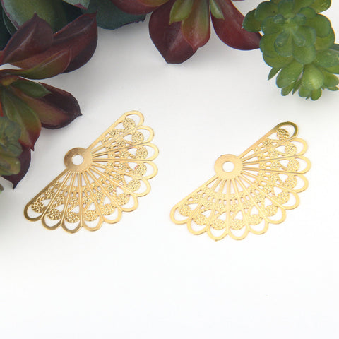 2 Thin Brass Laser Cut Fan Shaped Filigree Connectors, Earring Components, Gold Plated, 39x24mm // GC-563
