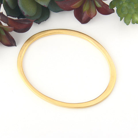 1 Large Oval Gold Pendant Connector, Oval Link, Link Connector, Focal Link Connector 22k Matte Gold Plated,  57x73 mm // GC-564