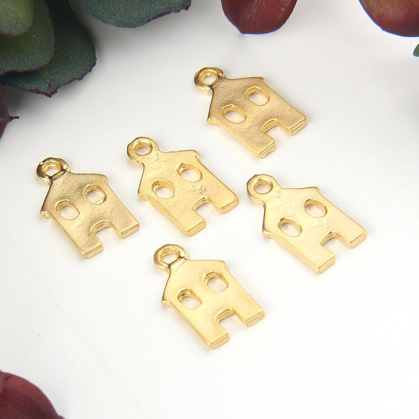 Gold Flat House Charms, Home Charms, House Charms, 5 pieces // GCh-313
