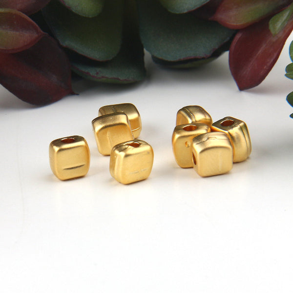 8 Gold Organic Mini Square Metal Beads, Gold Cube Beads, 7.5mm // GB-281