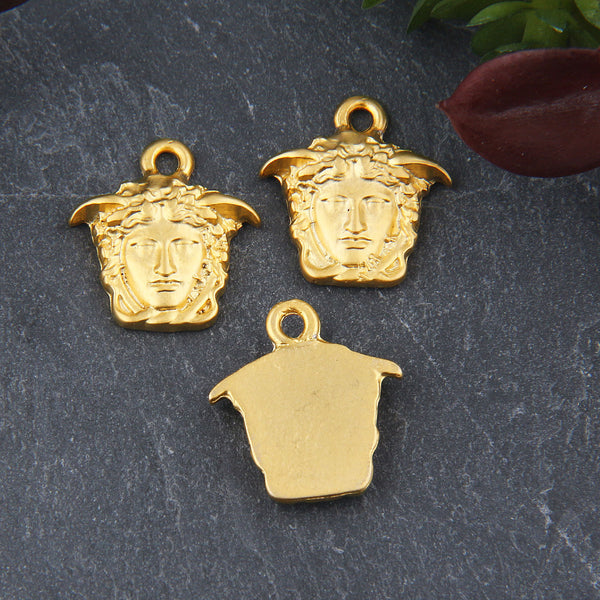 Gold Medusa Charms, 1-sided Medusa Drop Charms, Greek Medusa Head Charms, 3 pieces // GCh-316