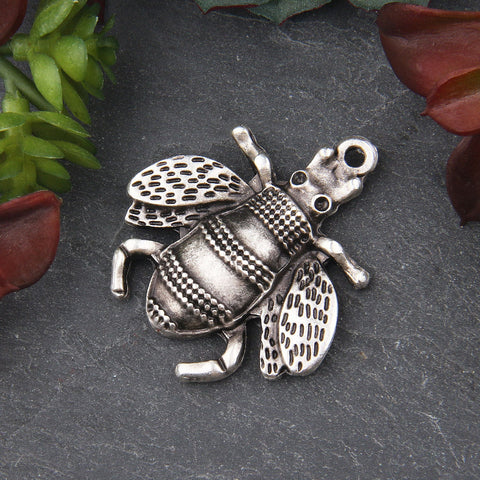 1 Large Silver Bee Pendant, Bumble Bee Pendant, Bee Jewelry // SP-404