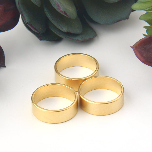 3 Gold Brass Ring Connectors, Thick Ring Link Components, 22k  Matte Gold Plated, 17x6 mm // GC-567