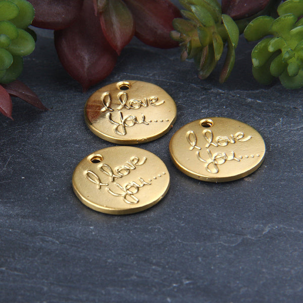 I Love You Charms, Gold Love Charms, Valentines Charms, 3 pieces // GCh-314