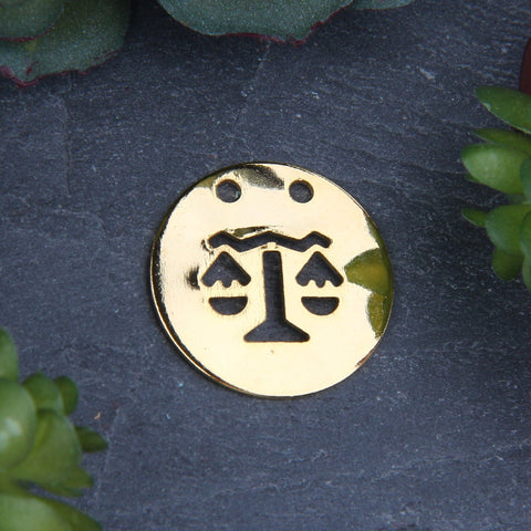 1 Libra Zodiac Sign Pendant with Double Hole, Shiny Gold Horoscope Pendant, 20mm // GP-623
