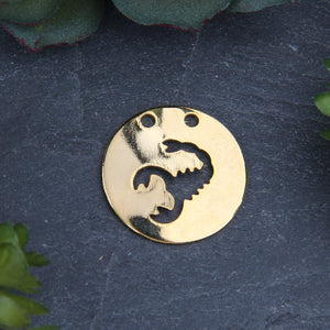Scorpio Zodiac Sign Pendant with Double Hole, Shiny Gold Horoscope Pendant, 1 piece // GP-623