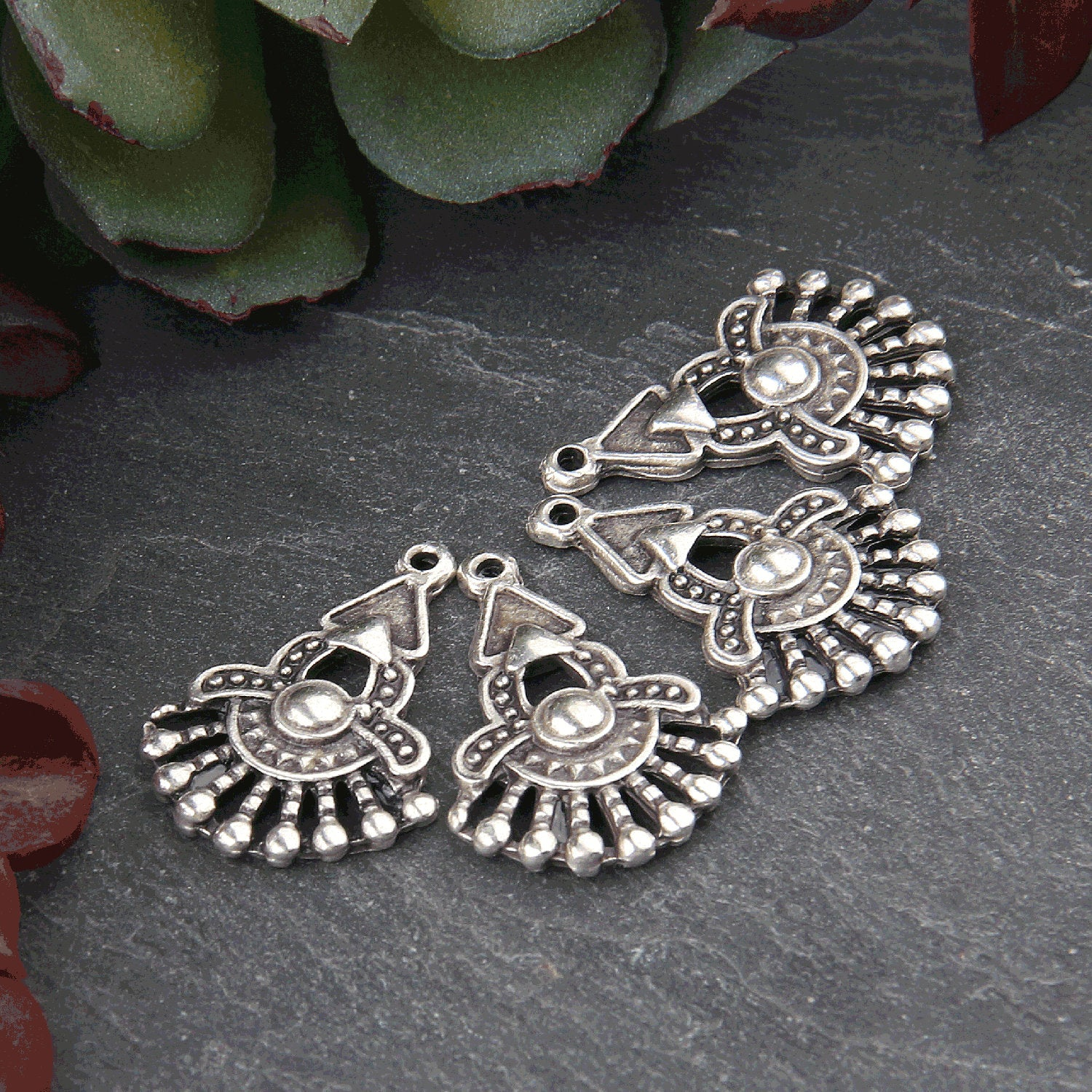Silver Tribal Charms, Silver Ethnic Charms, Fan Shaped Charms, 4 pieces // SCh-204