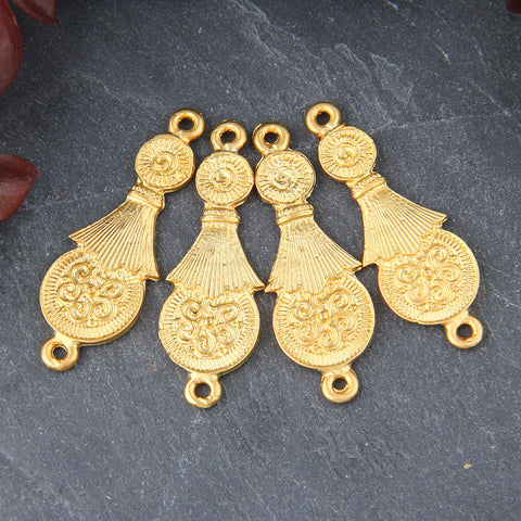 4 Gold Unique Ethnic Connectors, Gold Unique Tribal Connectors, 13x38mm // GC-568