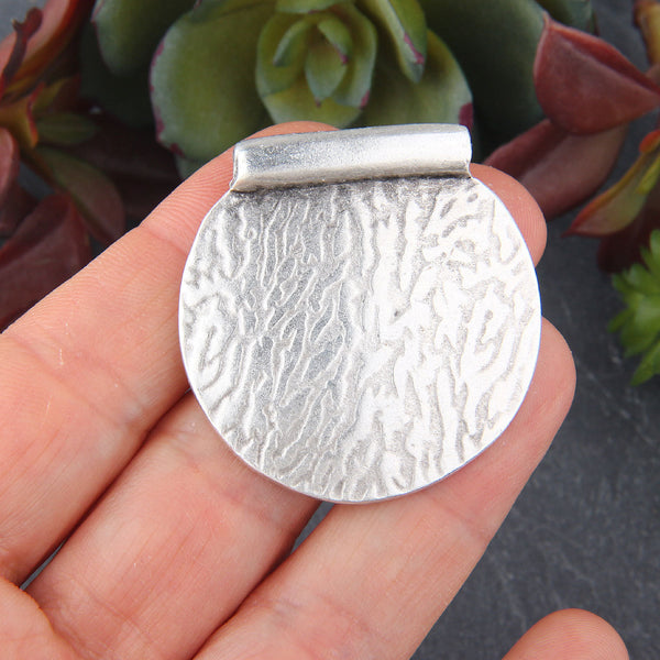 Silver Textured Semi Circle Bail Pendant, Half Round Pendant, 1 piece // SP-398
