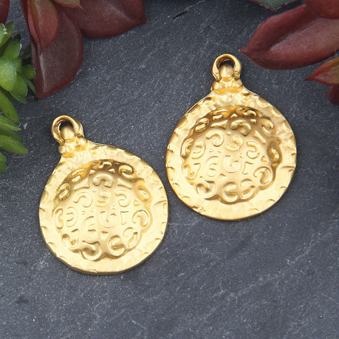 Textured Dome Pendants, Boho Pendants, Gold Dome Pendants, 2 pieces // GP-636