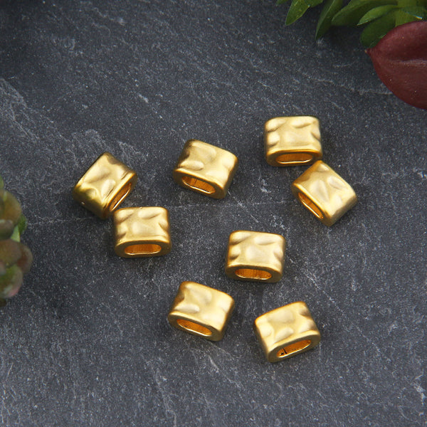 8 Hammered Gold Bead Sliders, Cord Sliders, Ribbon Spacers, 22k Matte Gold Plated // GB-286