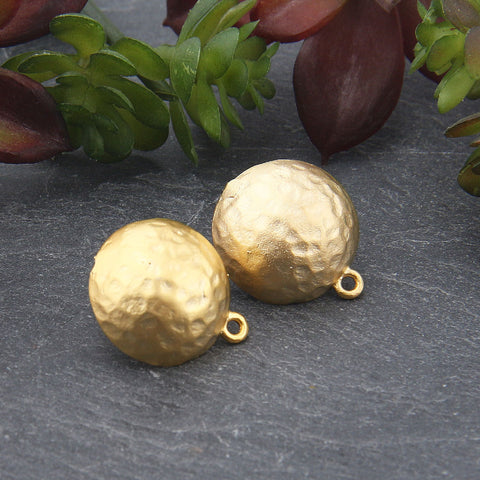 2 Matte Gold Hammered Dome Earring Posts, Earring Components, 16x18mm // GF-189