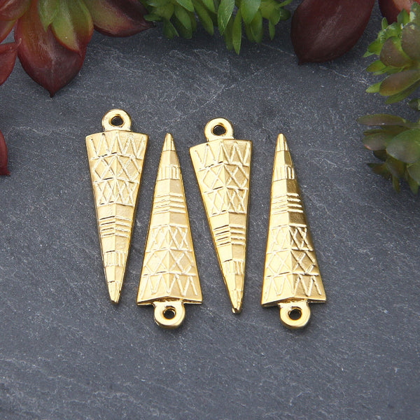 Gold Textured Triangle Charm Pendants, Tribal Triangle Charms, 4 pieces // GP-631