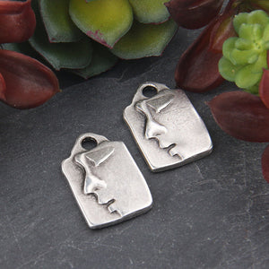 Silver Buddha Charm Pendant, One-sided Flat Rectangular Buddha Head Pendant, Matte Silver Plated, 2 pieces // SP-406