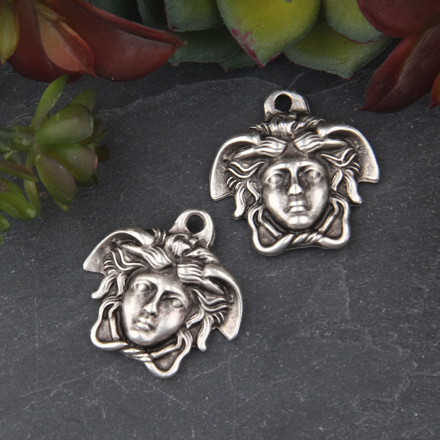 Silver Medusa Pendant Charms, 1-sided Medusa Drop Charms, Medusa Pendant, Greek Medusa Head Charms, 2 pieces // SCh-207
