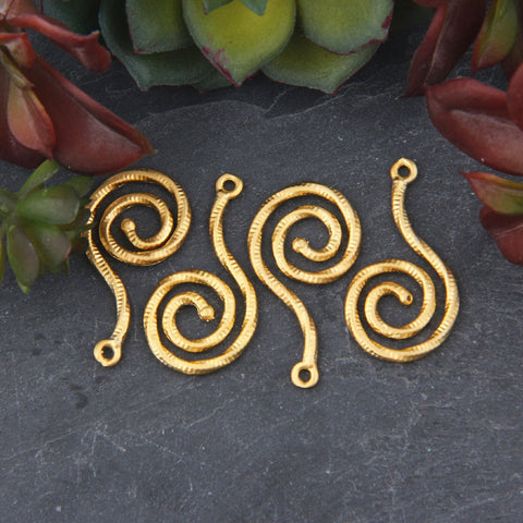 Gold Textured Spiral Pendants, Gold Swirl Charm Pendants, Jewelry Supplies, 4 pieces // GP-635