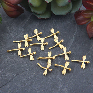 Mini Gold Dragonfly Charms, Tiny Dragonfly Charms, Jewelry Supplies, 12 pieces // GCh-318
