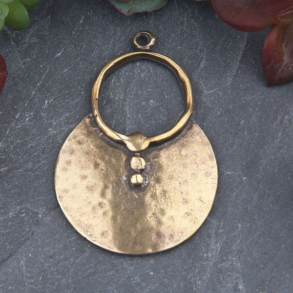 Antique Bronze Semi Circle Tribal Loop Pendant, Jewelry Supplies, 1 piece // ABP-135