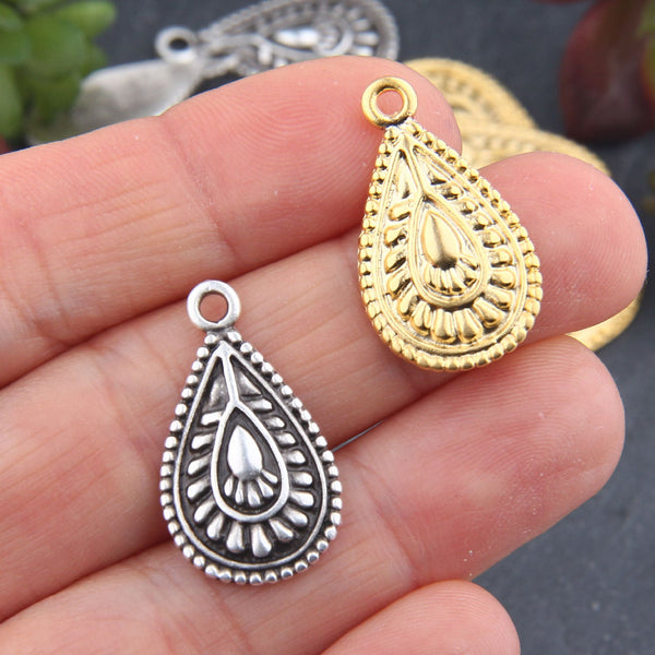 Gold Tribal Teardrop Charms, One-Sided Flat Teardrop Charms, Jewelry Supplies, 6 pieces // GCh-319