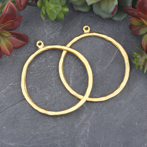 Large Earring Hoops, Gold Hoops, Large Loop Pendant Connector, Hoop Connector, Earring Hoops, 2 pieces // GC-573