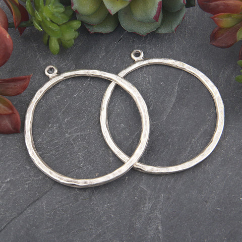 Silver Plated Large Earring Hoops, Silver Hoops, Large Loop Pendant Connector, Hoop Connector, Earring Hoops, 2 pieces // SC-141