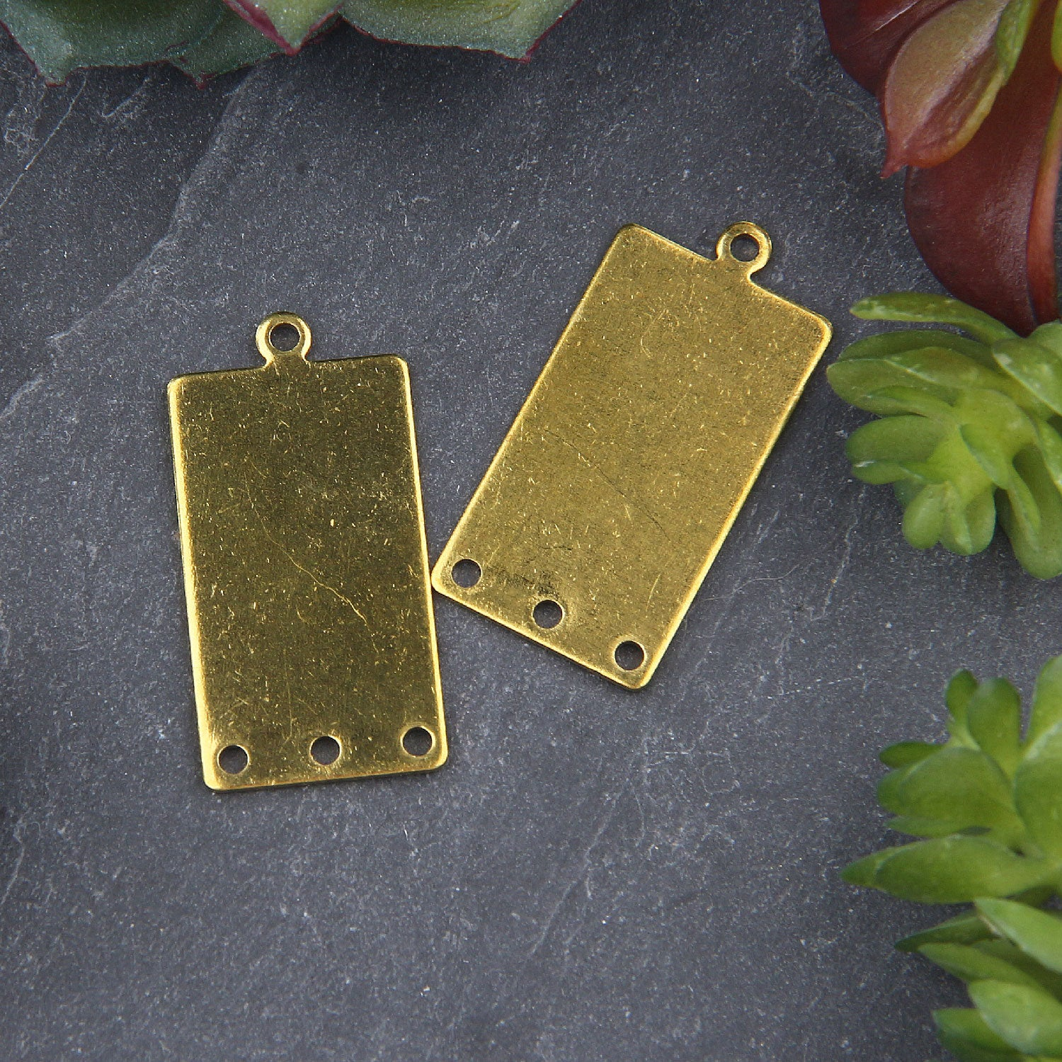 2 Raw Brass  Rectantular Connectors, Raw Brass, Connector Earring Components, Jewelry Supplies, 14x28 mm // RAW-081
