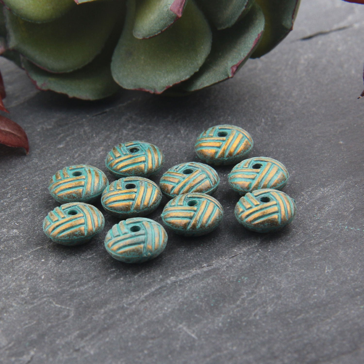 SALE, 10 Acrylic Verdigris Patina Bead Sliders, Plastic Patina Beads, Acrylic Beads, Jewelry Supplies, 10 mm // ACR-012