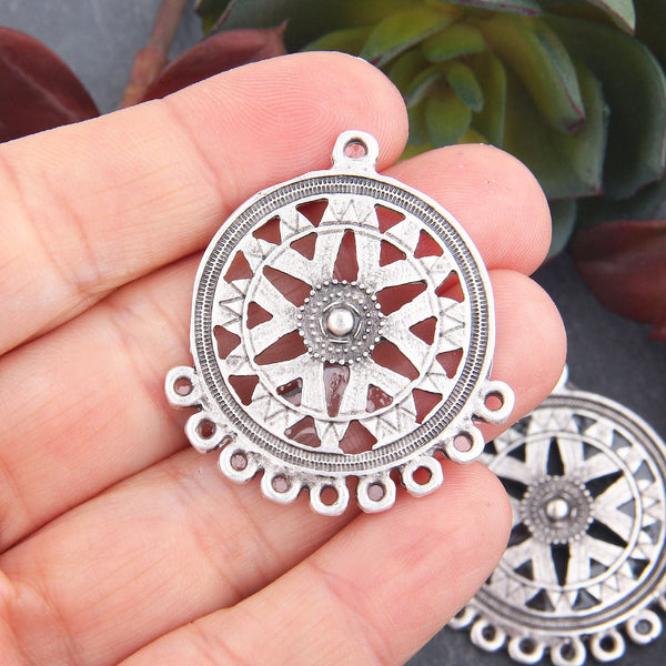 Bohemian Earring Components, Multiloop Earring Pendants, Silver Bohemian Earring Links, 2 pieces // SC-243