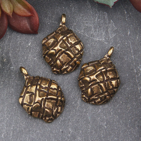 Bronze Organic Domed Textured Pendant Charms, Freeform ABstract Charms, Jewelry Supplies, 3 pieces // ABCh-046