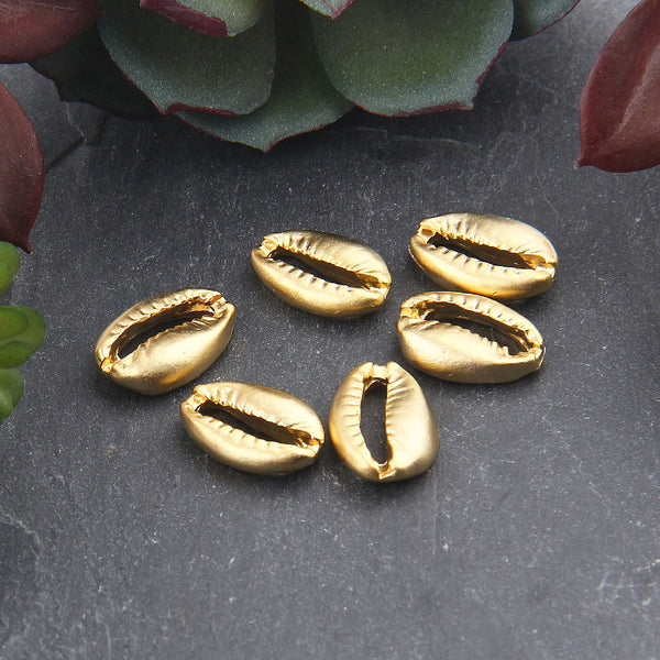 Gold Plated Small Cowrie Sea Shell Bead Connectors, Nautical Beads, Seashell Charms, Jewelry Supplies, 6 pieces // GC-578
