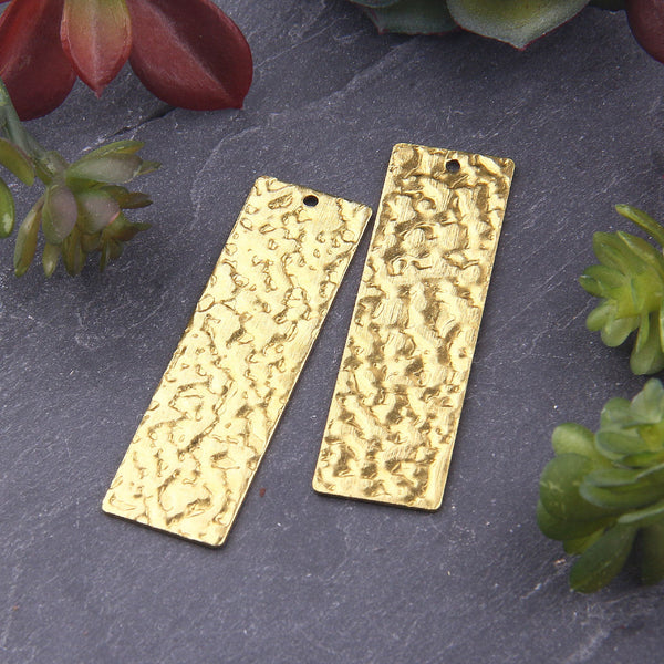 Raw Brass Hammered Rectangular Bar Pendants, Raw Brass, Flat Bar Earring Charms, Jewelry Supplies, 2 pieces // RAW-078