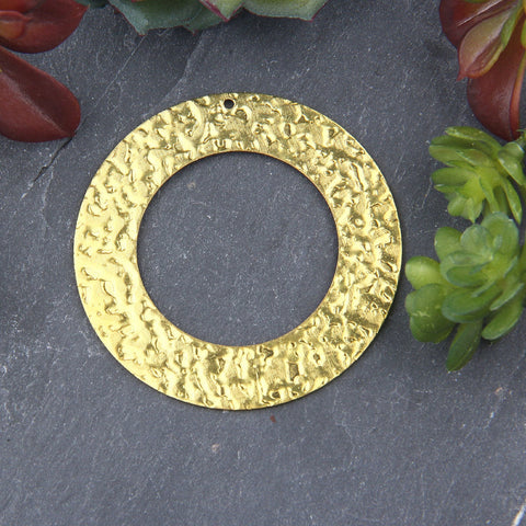 1 Raw Brass  LargeHammered Cut out Circle Pendant, Raw Brass, Circle Earring Pendant, Jewelry Supplies, Diam. 52mm // RAW-079