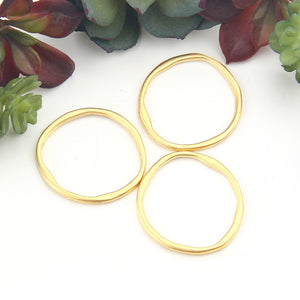 3 Gold Plated Circle Connector Links, Jewelry Supplies, 34mm // GC-579