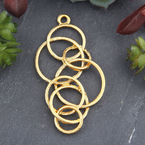 1 Multiple Soldered Circle Pendant, Circle Pendant, Gold Plated, Multi Round Pendant, Jewelry Supplies, 34x69mm // GP-650